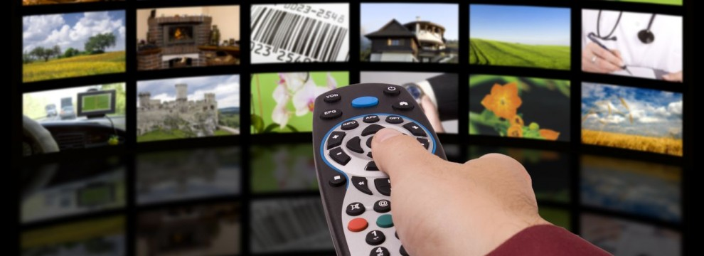 Digital television production concept, remote control TV.